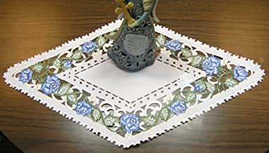 BANBERRY DESIGNS Victorian Blue Rose Embroidered Doily or Placemat 23 L x 12 W Diamond Shape
