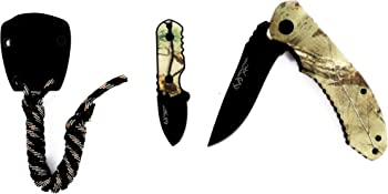 Real Tree Folding & Neck Knife Sheath w/ Survival Paracord Combo Pack