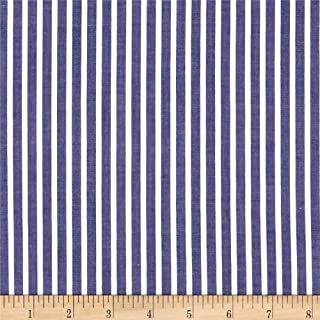 FABRIC.COM Cotton Lawn Stripe Navy Fabric by the Yard