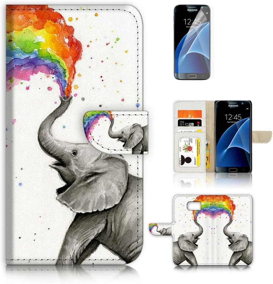 (for Samsung S7, Galaxy S7) Flip Wallet Case Cover & Screen Protector Bundle - A3957 Rainbow Elephant