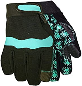 Midwest Gloves & Gear Spandex Garden Glove with Synthetic Leather Palm, 400D4, Size: 9