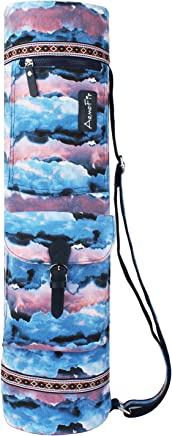 Women s Yoga Mat Bags and Carriers Patterned Canvas Bag with 2 Storage  Pocket and Adjustable Strap 9aaec7bf83c7