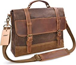 NEWHEY Mens Messenger Bag Waterproof Canvas Leather Computer Laptop Bag 15.6 Inch..