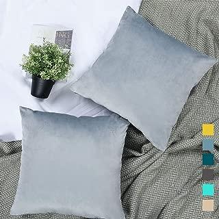 YINFUNG Silver Velvet Pillow Cover Grey 18x18 Throw Pillow Cover Gray Set of 2 Couch Pillow Covers Light Gray Sofa Decor Throw Pillow Cases Dusty Blue
