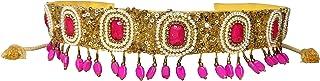 Duchess Pink Golden Beaded Designer Tasselled Cloth Waist Saree Belt and Kamarbandh for Women
