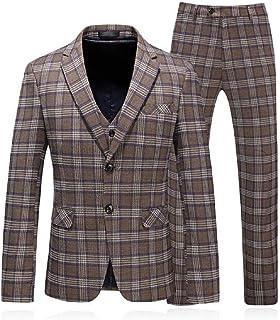 FSSE Mens Regular Fit Checkered Two-Button Casual Business Blazer Vest & Pants 3 Pieces Suit