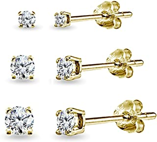 Sterling Silver Small Round CZ Stud & Ball Bead Stud Earrings Set Combos, Choice of Set and Metal
