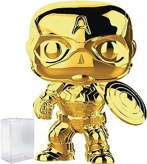 Marvel Studios 10th Anniversary - Captain America (Gold Chrome) Funko Pop! Vinyl Figure (Includes Compatible Pop Box Protector Case)