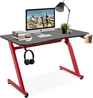 HOMCOM Mesa Gaming para Ordenador de Juegos Escritorio de Oficina con Portavasos Gancho para Auriculares Gran Superficie para PC Almohadillas Ajustables 120x65x74,5 cm Negro y Rojo