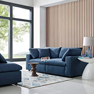 Modway Commix Down Down Filled Overstuffed 2 Piece Sectional Sofa Set, Two Corner Chairs, Azure