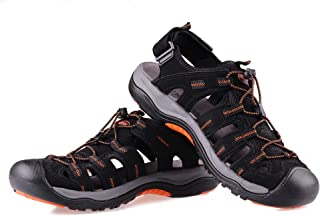 GRITION Mens Hiking Sandals Walking Fisherman Water Sandals, Breathable Athletic Outdoor Trail Sandals, Closed Toe Slip-on Waterproof Shoes Black