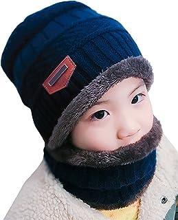 16f0a01770196 Kfnire Enfants Casquettes écharpe, Bonnet tricoté Hiver + écharpe pour  garçons et Filles, avec