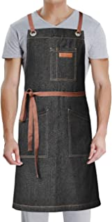 DingSay Trendy Professional Apron with Pockets,for Grill BBQ Kitchen Cooking Artist Painting,Unisex for Men Women,Bib Adjustable Design with Cross Back Straps (Black Denim-3)
