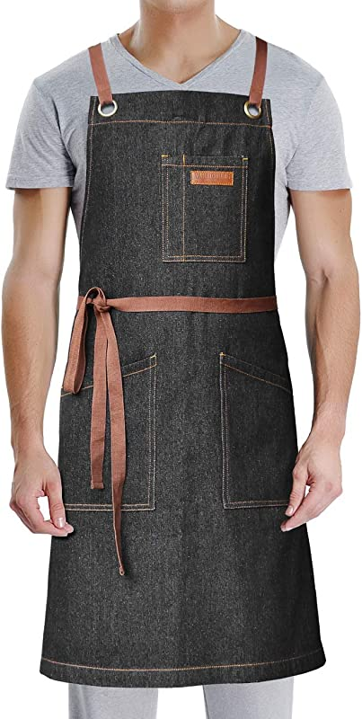 DingSay Trendy Denim Apron With Pockets For Grill BBQ Kitchen Cooking Artist Painting Unisex For Men Women Bib Adjustable Design With Cross Back Straps Black Denim