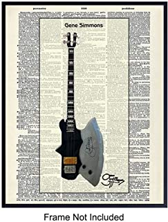 Gene Simmons Ax Axe Guitar Dictionary Art Print - Vintage Upcycled Wall Art Poster - Unique Rustic Home Decor and Great Gift for Kiss Fans, Guitarists or Musicians - 8x10 Photos Unframed