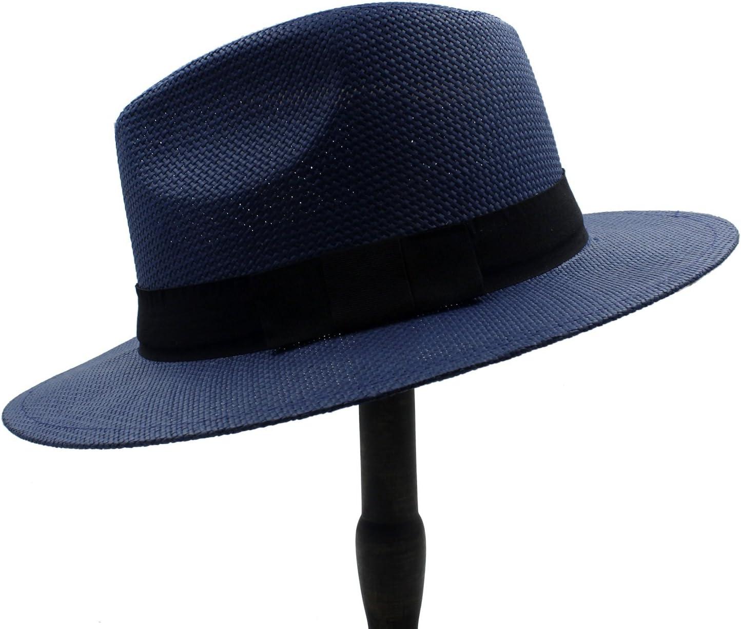 GR Summer Women Men Wide Brim Toquilla Straw Panama Sun Hat for Elegant Lady Gentleman Gangster Trilby Fedora Beach Dad Cap (Color : 2, Size : 56cm-59cm)