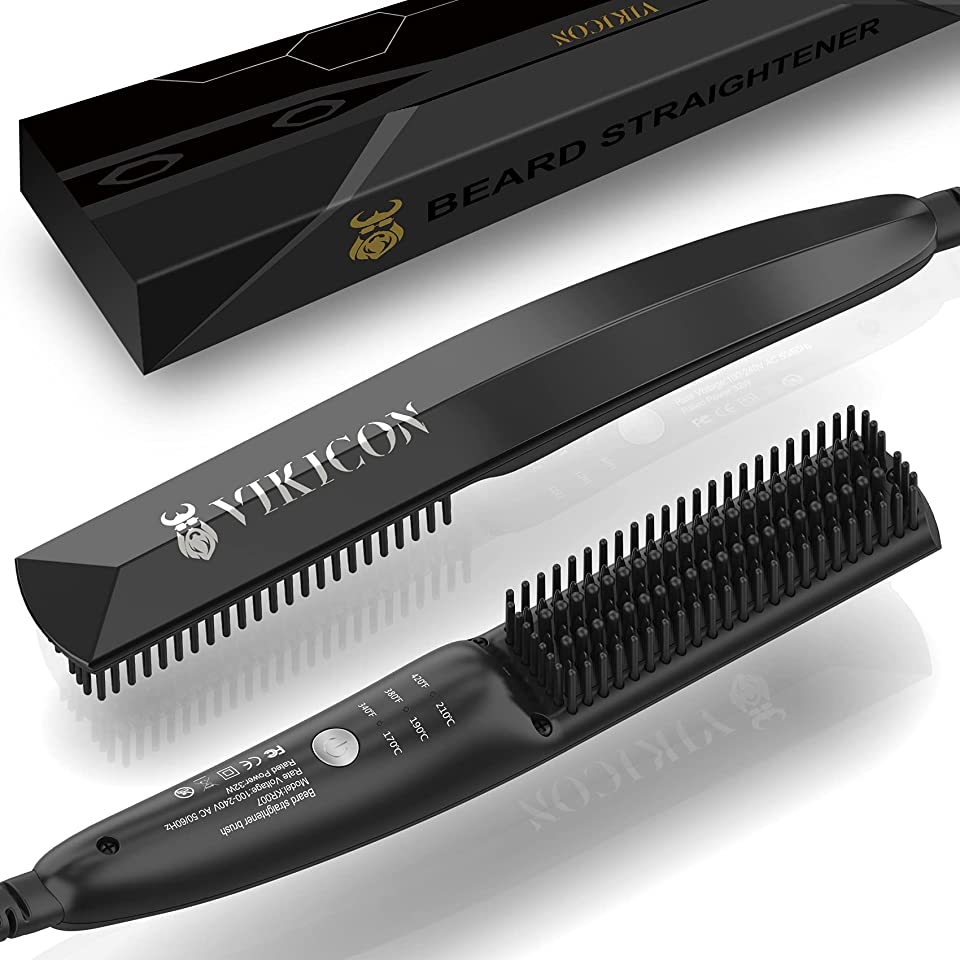 VIKICON Beard Straightener, 30s Quick Heated Beard Brush, Mini Heating Straightening Comb for Men, Ionic/Lightweight/Fast/Anti-scalding Hot Hair Brush for Styling Long&Short Beard