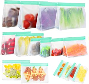 Reusable Food Storage Bags, 16 Pack BPA Free Food Grade Reusable Freezer Bags, Reusable Gallon Bags, Reusable Sandwich Bags, Silicone Food Bags Leakproof Resealable for Meat Fruit Veggies Snacks