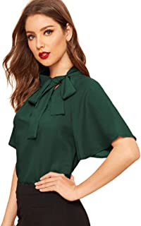 SheIn Women's Vintage Side Tie Neck Ruffle Short Sleeve Blouse Shirt Top