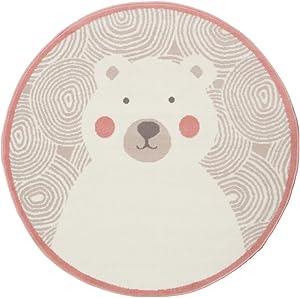 """The Rug House Milan Alfombra Infantil de guradería con diseño Circular con Dibujo de Oso Polar Color Blanco Crema Gris Plateado 120cm x 120cm Circle (3'11"""" Diameter)"""