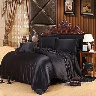 Lldaily 4-Piece Imitated Silk Fabric Duvet Cover Set,Luxury Bedding Sets,Silk Sheet Set with Ultra Soft Duvet cover+Pillowcases+Flat Sheet,Full,Black