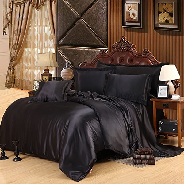 Lldaily 4 Piece Imitated Silk Fabric Duvet Cover Set Luxury Bedding Sets Silk Sheet Set With Ultra Soft Duvet Cover Pillowcases Flat Sheet Queen Black