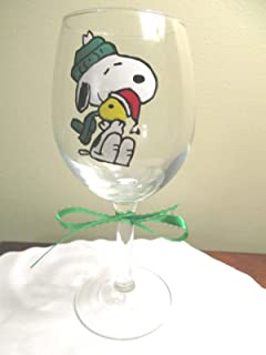 Hand Painted Wine Glass Snoopy Woodstock Christmas 12 oz. 7-1/2
