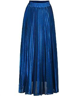 ZJMIYJ Kjolar för kvinnor – Plisserad maxikjol hög midja Harajuku L gunga guld bohemiska långa kjolar för kvinnor plusstor...