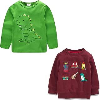 BIBNice Toddler Boys Cotton T-Shirt Long Sleeve Tee Kids Crewneck Clothes 2 Pack 18M-7T