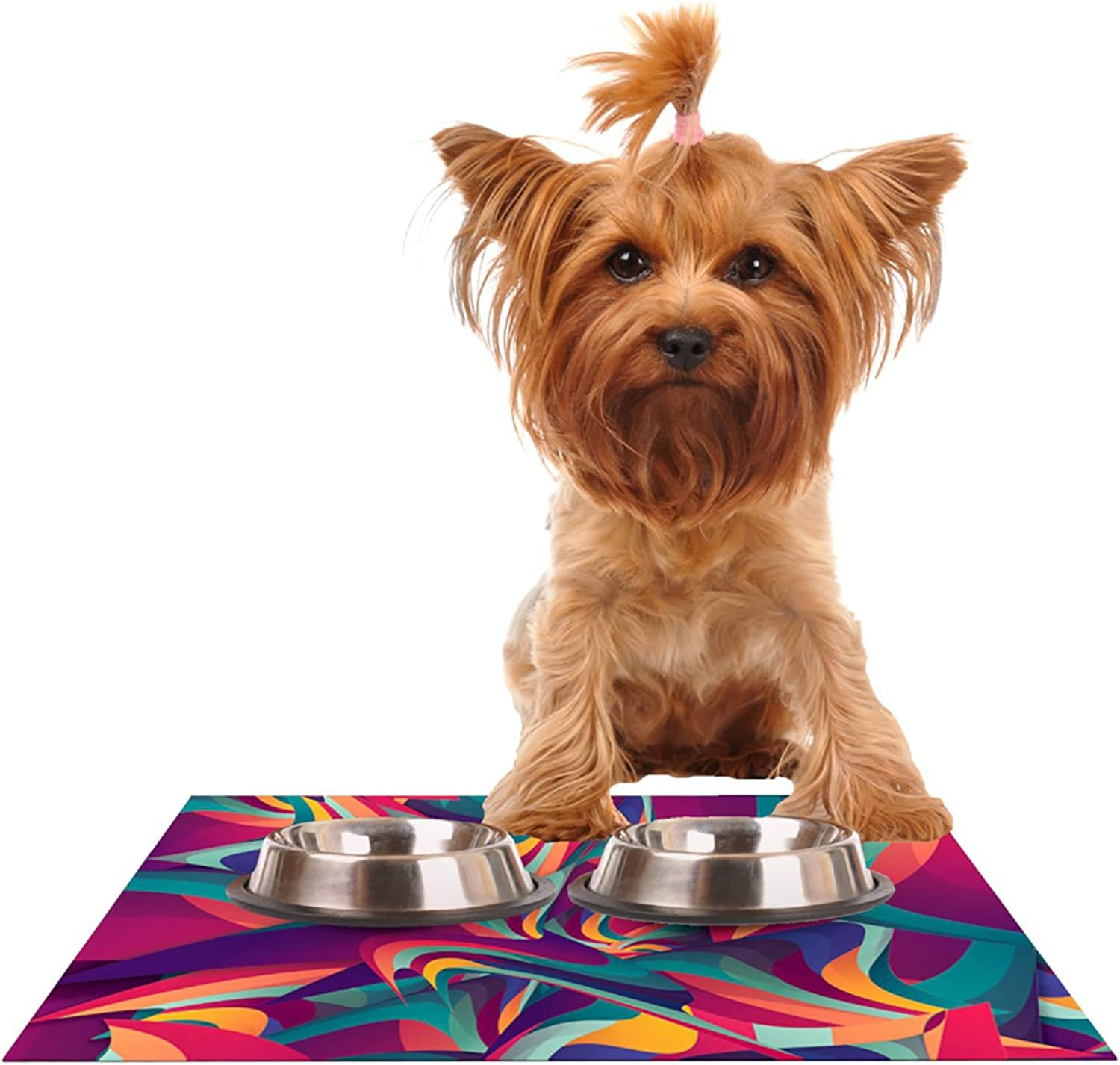 Kess InHouse Danny Ivan Wrong Past  Teal Purple Pet Bowl Placemat, 18 by 13Inch