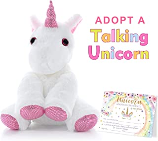 MORDUN Talking Unicorn Plush Stuffed Animal - Peluche de Unicornio - Birthday Gifts Ideas Interactive Toys for Girls Teens Graduation Gifts for Kids Preschool Kindergarten