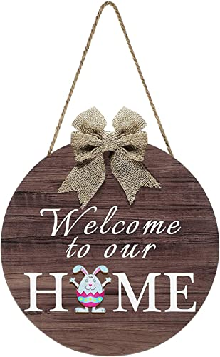 lowest Welcome sale Sign Front Door Decor, Rustic Round Wreath with Buffalo Bow, Welcome Home Sign Wall Hanging Outdoor Front Porch Holiday Decor popular for Housewarming Gifts Spring Holiday, 12In online sale