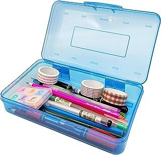 جعبه مداد شفاف پلاستیکی Nuozme برای کودکان ، کیف های مداد با ظرفیت بزرگ با درپوش محکم ، لوازم اداری دارنده مداد قابل چیدمان سازمان دهنده قلم مداد لوازم مدرسه ، 1 بسته (آبی)