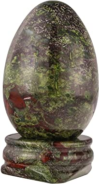"""SUNYIK Dragon Bloodstone Gemstone Egg Sphere Sculpture Healing Figurine with Stone Stand Easter Day's Gift(1""""x1.6"""")"""
