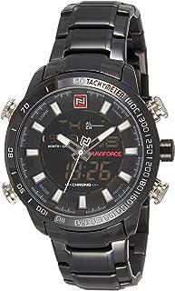 ساعة انالوج كلاسيكية بمينا اسود وسوار من الجلد الاصلي للرجال من نافي فورس - NF9093-BBW