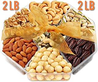 Jumbo 2LB Gift Basket | Holiday Nuts Gift Basket - Gourmet Food Gifts Prime Delivery | Men & Women, Christmas, Mothers & Father's Day Fruit Nut Gift Box, Assortment Tray - Birthday, Sympathy, Get Well