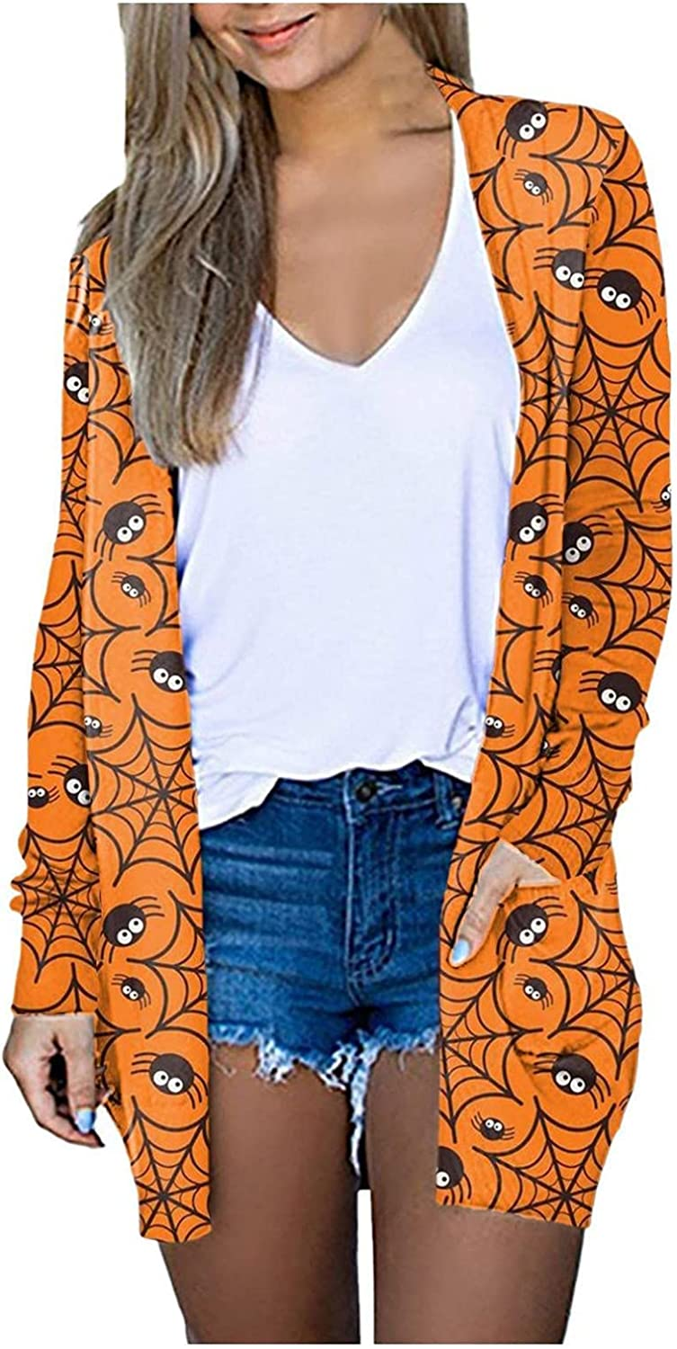 Halloween Sweaters for Women,Womens Long Sleeve Tops Black Cat Ghost Cardigan Open Front Button Sweater Outerwear
