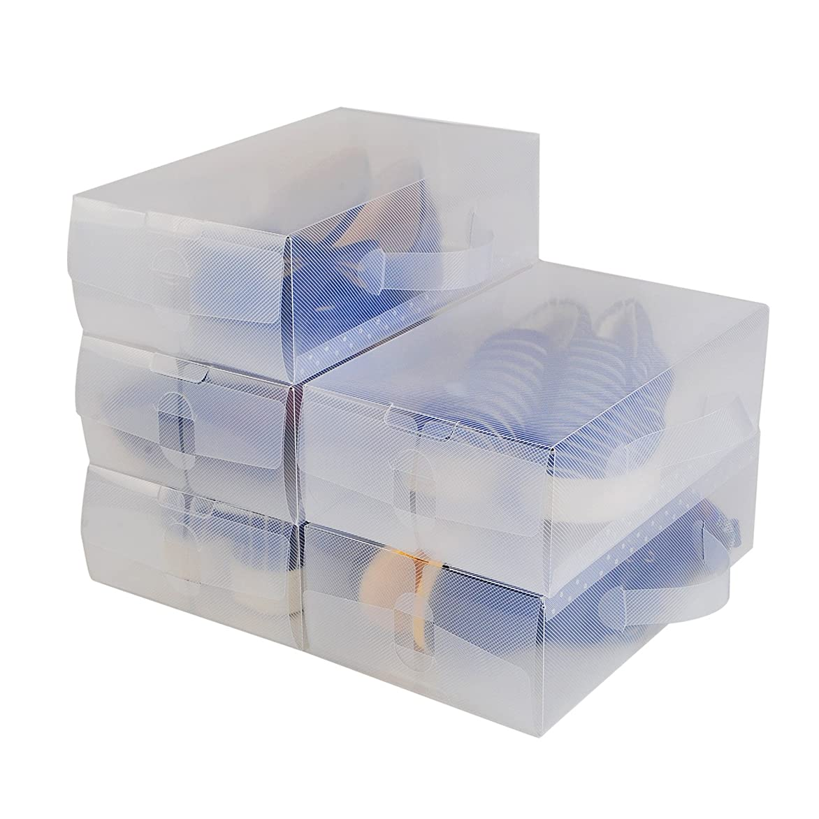 戻るストレージ雇用者【12箱入り】シューズボックス 透明 クリア シューズケース 組立て式 靴収納 靴箱