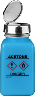 Menda 35730 One Touch Liquid Dispenser Pump Bottle, Acetone Printed, HCS Label, ESD Safe, 6 oz. Dissipative, HDPE/Stainless Steel, Blue