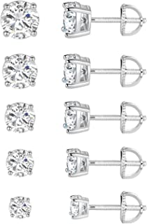 18K White Gold Plated 4 Pong Round Clear Cubic Zirconia Screw Back Stud Earring Pack