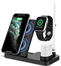 Updated Version 4 in 1 Wireless Charger, Apple Watch & AirPods & Pencil Charging Dock Station, Nightstand Mode for iWatch Series 5/4/3/2/1, Fast Charging for iPhone 11/11 Pro Max/XR/XS Max/Xs/X/8/8P