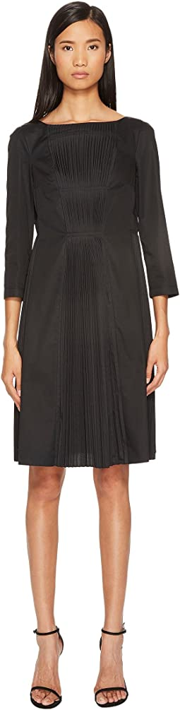 Boat Neck 3/4 Sleeve Dress with Pleated Skirt