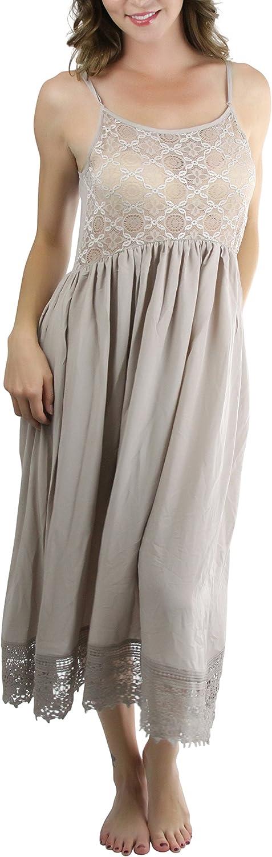 ToBeInStyle Women's Adjustable Strap Lace Trim Cotton Slip
