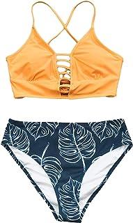 Women's Mid Waisted Bikini Set Lace Up Two Piece Swimsuits