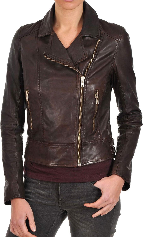 Women's Stylish Lambskin Genuine Leather Jacket WJ47