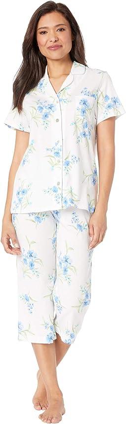 Soft Jersey Short Sleeve Capris Pajama Set