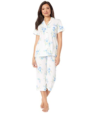 Carole Hochman Soft Jersey Short Sleeve Capris Pajama Set (White/Aqua Floral) Women