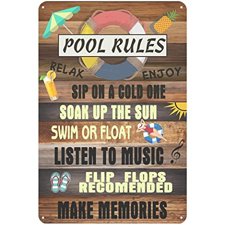 Jacevoo Metal Signs Pool Rules Tin Sign Vintage Pool Patio Wall Decoration Outdoor Swimming Pool Sign 12x8 IncH