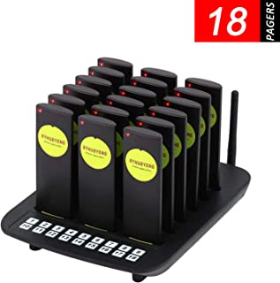 BYHUBYENG Restaurant Pager System Wireless Calling System with 18Pcs Slim Portable Coaster Pagers Buzzers for Snack Bar Church Food Truck Cafe Shop