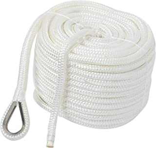 NovelBee 1/2 x 100' Double Braid Nylon Anchor Line with Stainless Steel Thimble,Safe Workload:1,020 Lbs;Tensile Strength:5,100 Lbs